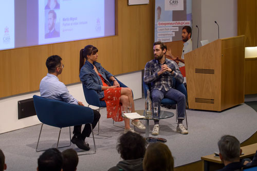 MSc in Entrepreneurship student James Song interviews venture capitalist Martin Mignot and entrepreneur Emily Brooke at Cass Business School