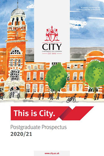 Cover of the postgraduate prospectus for 2020/21 academic year