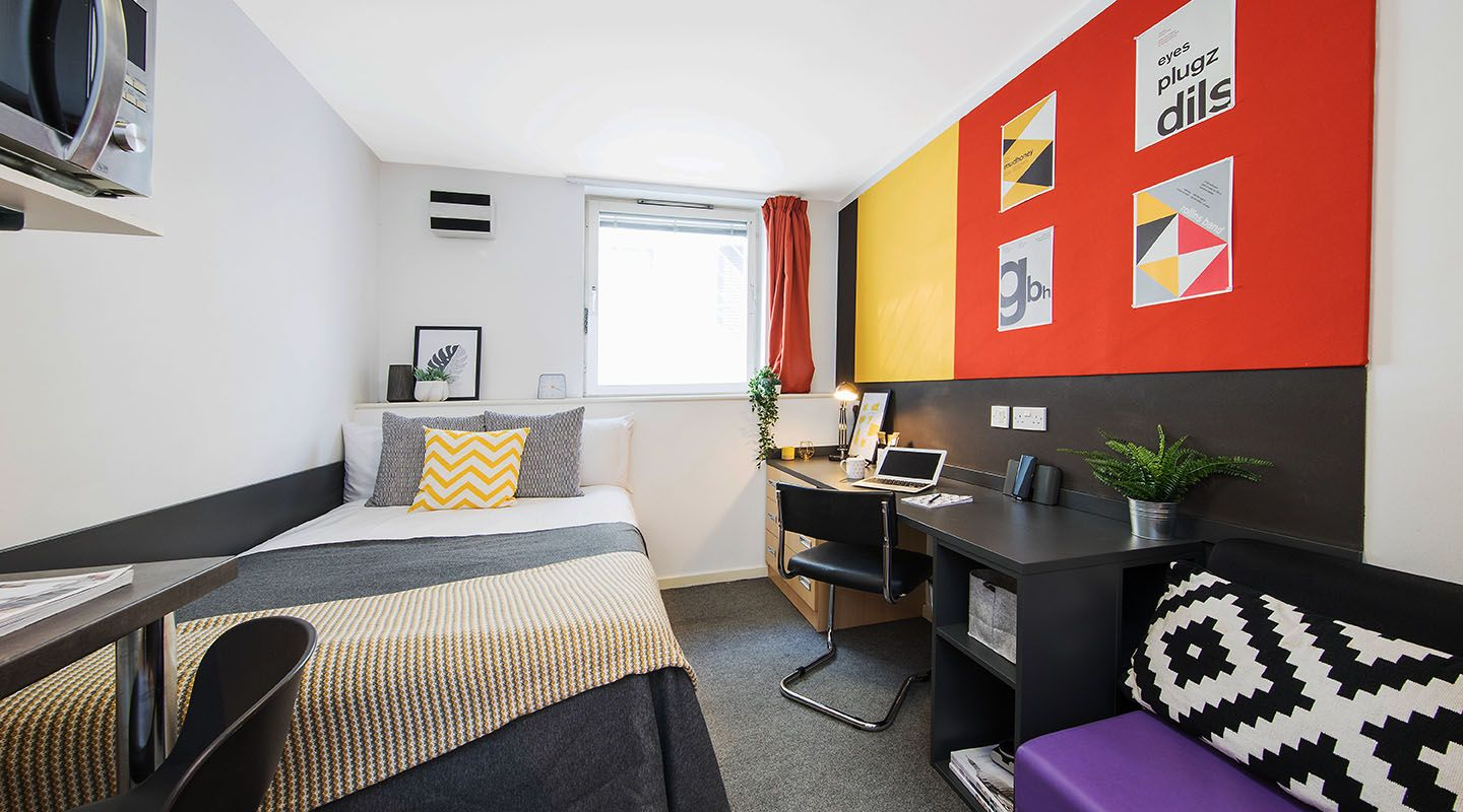 A room in student accommodation.