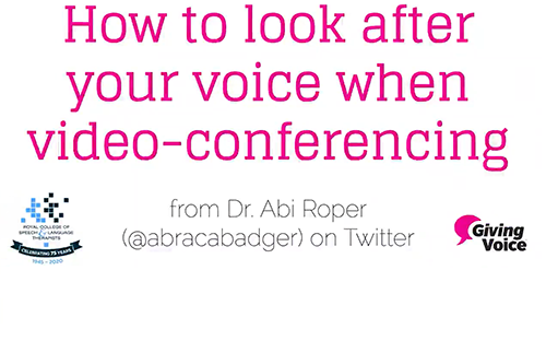 Title image for Twitter video from RCSLT on voice tips for video conferencing