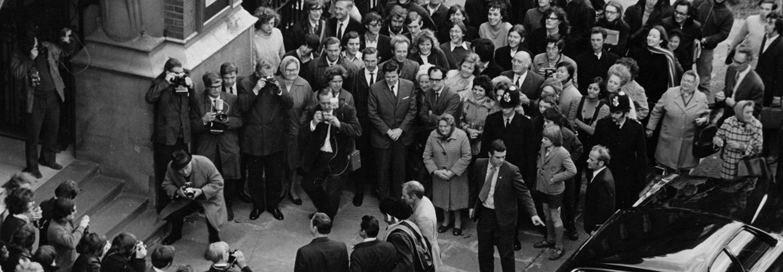 Apollo 15 Astronauts visit College Building at Northampton Square.