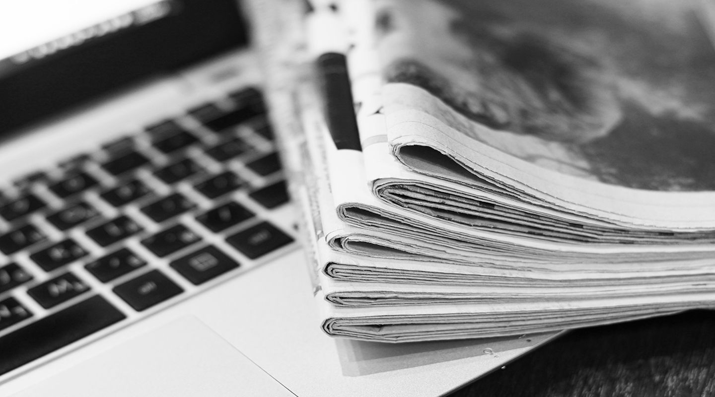 Newspaper on desk