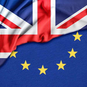 Half and half UK and EU flag, divided diagonally.