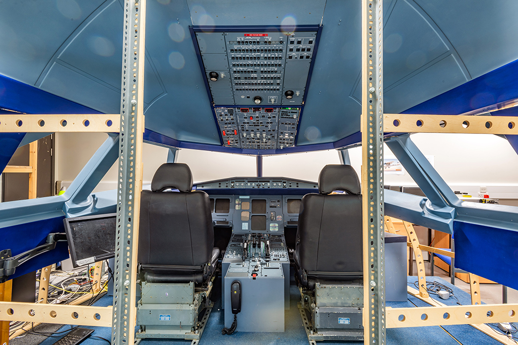 Interior inside a Airbus A320 flight simulator