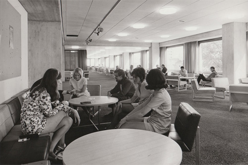 1970s photo of the current library space at Northampton Square