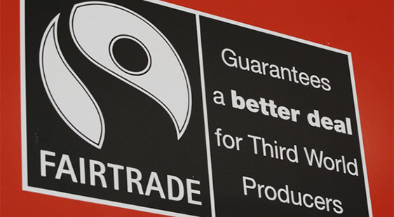 A Fairtrade sign reading: Guarantees a better deal for Third World Producers