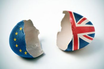 Two half shells of a broken egg, one half painted with the UK flag and one with the EU flag