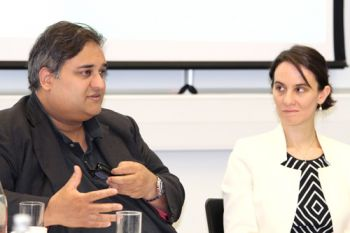 MEP Claude Moraes and presenter Maria Tzanou at the Transatlantic Relations and institutionalisation workshop