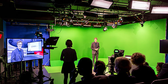 A broadcast from City's journalism television recording studio
