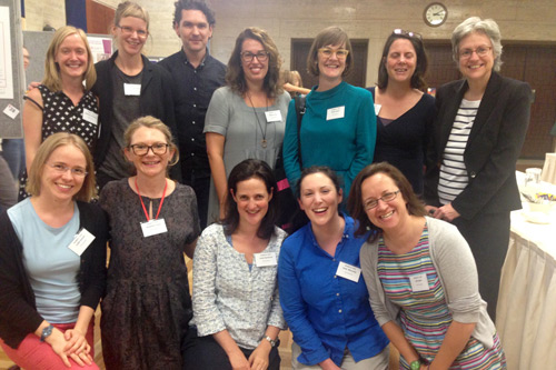 Dr Katerina Hilary (centre top) with PhD students and staff members of the LCS Aphasia Team