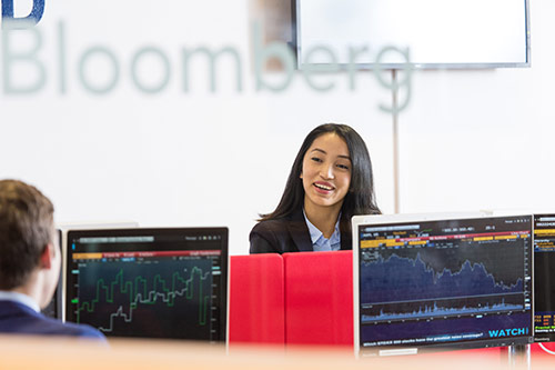 City students at the Bloomberg terminals