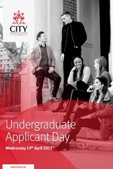 Undergraduate Applicant Day Saturday 11th march 2017. Students sitting on steps together.
