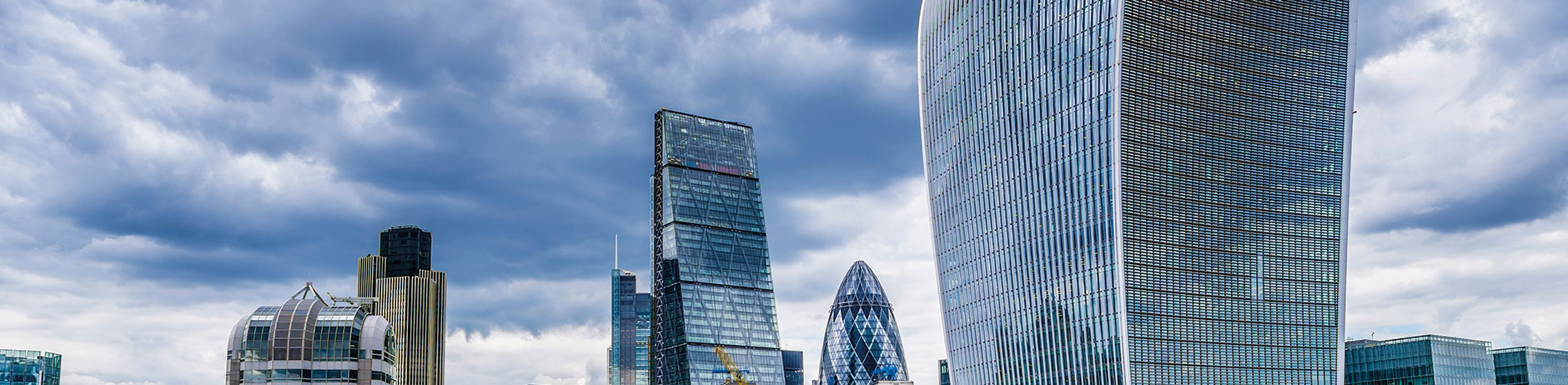 Walkie talkie and the financial district in London