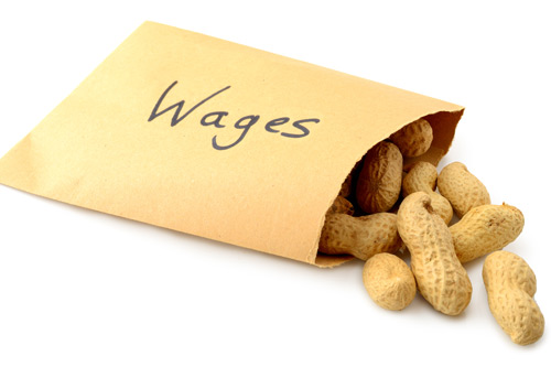 envelope containing peanuts labelled with wages on front