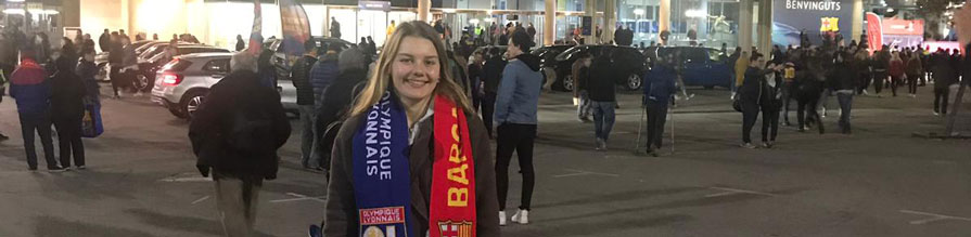 Karolina Batistova outside Camp Nou