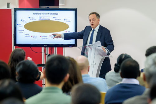 Richard Sharp uses a visual representation of the Bank of England's Financial Policy Committee to describeits structure to the audience.