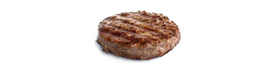 An image of a single hamburger
