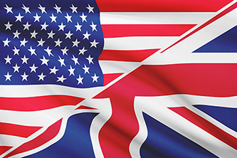 US and UK flags combined diagonally