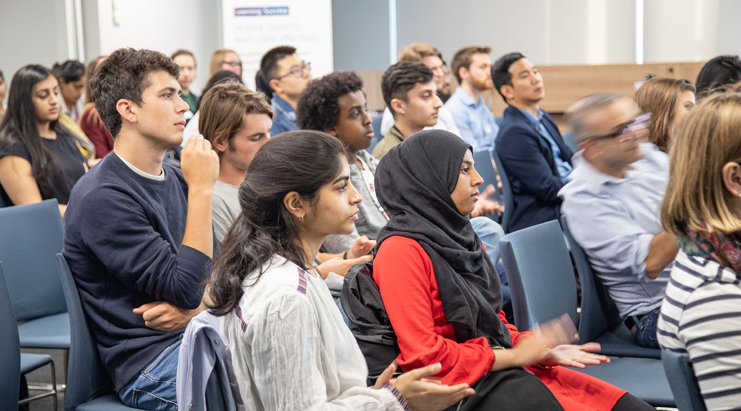 Students attending university event