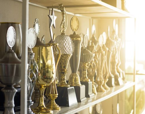 A collection of trophies in a cabinet