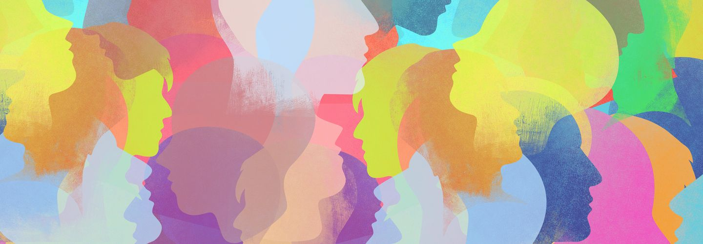 Illustration collage of colourful silhouetted faces.