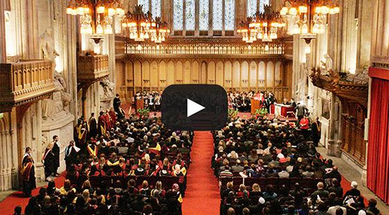 Still from a graduation ceremony video