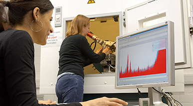 Researchers using equipment in a lab