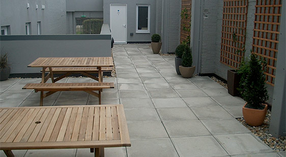 The courtyard at Willen House hall of residence