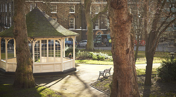 The bandstand in Northampton Square campus outside City