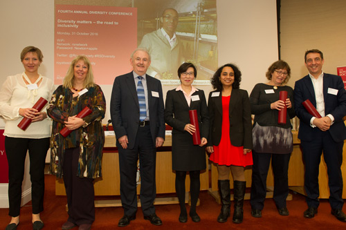 (second, third and fourth from left) are Professor Ken Grattan, Professor Tong Sun and Dr Arti Agrawal