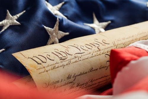 American flag. Dr John Stanton, US constitution and Trump.