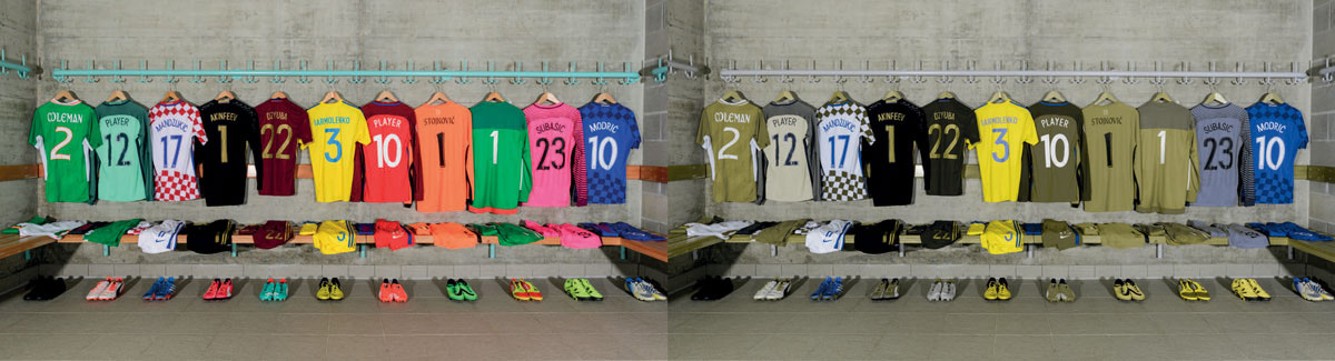 Two football changing rooms, side by side; image on the right depicting what a person with colour blindness would see