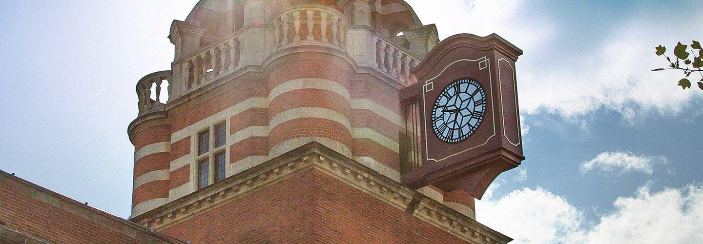 University's college building clock tower