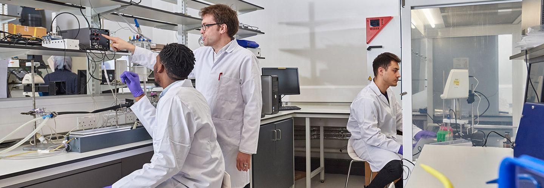 Students conducting experiments at the biomedical lab