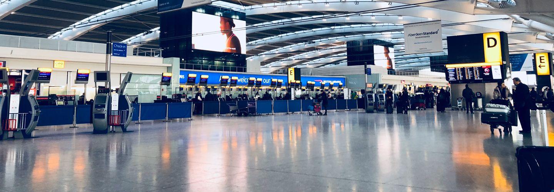 Interior of airport departures area