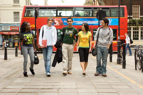 Students walk through Exmouth Market