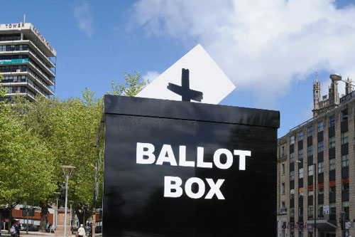 Large black mock ballot box in the center of Bristol