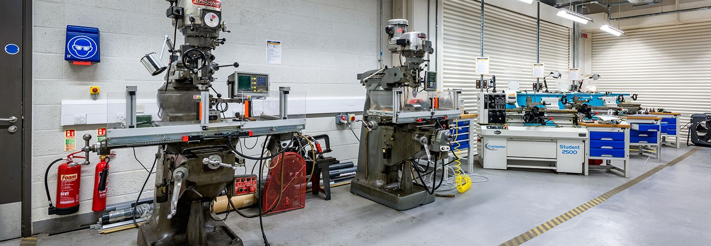 Engineering labs featuring milling and lathe machine