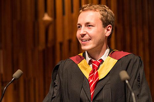 Student speaker Ralph at graduation