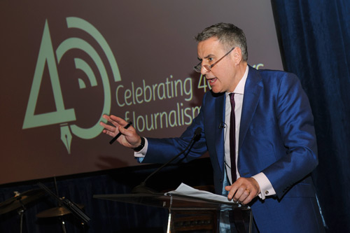 Dermot Murnaghan, Journalism alumnus speaking at the Journalism at 40 event.