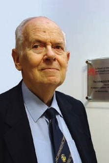 Professor Ludwik Finkelstein at the opening of the City University London electrical engineering laboratory named in his honour.