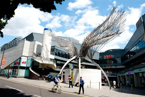 Angel sculpture near shops