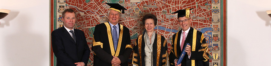 Rob Woodward, Professor Sir Adrian Smith, Princess Anne HRH and Professor Sir Paul Curran