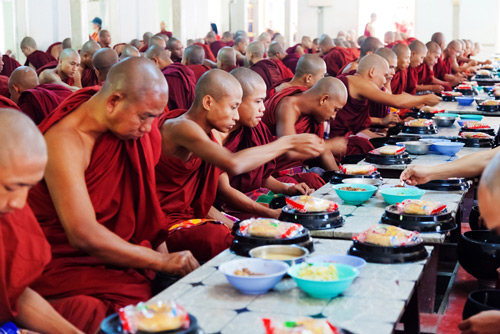 Monks eating their morning meal