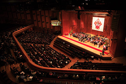 View of the Barbican ceremony hall from above
