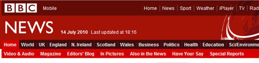 BBC news website header