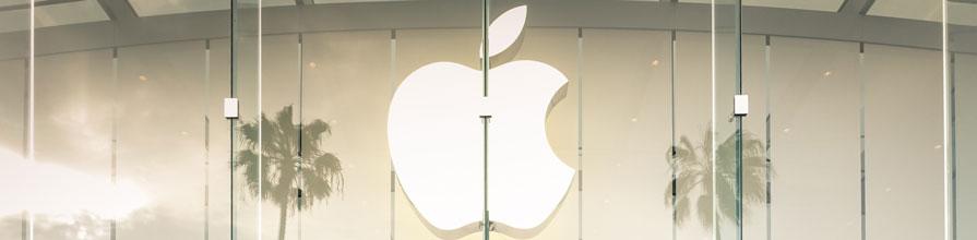 Apple logo on an apple storefront in Santa Monica