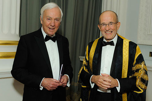 Professor Sir Paul Curran and MR David Newman, a recent Hon Fellow of City and chair of the George Daniels Education Trust at the 2016 Chancellor's Dinner