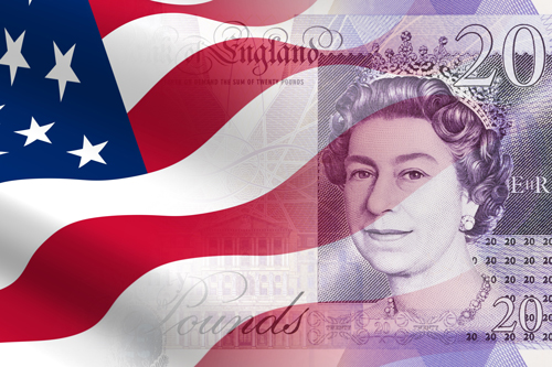 US flag running into a £20 note