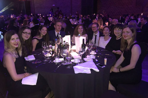 2015 Magazine MA graduates around a table at the PPA New Talent Journalism Awards